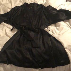Victoria's Secret Black Silk Robe